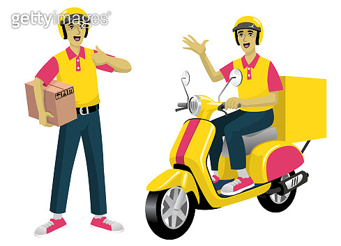 set worker of courier service and the scooter