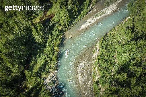 Pristine Alpine River Aerial Vista