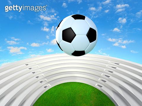 soccer ball over the stadium  3d rendering