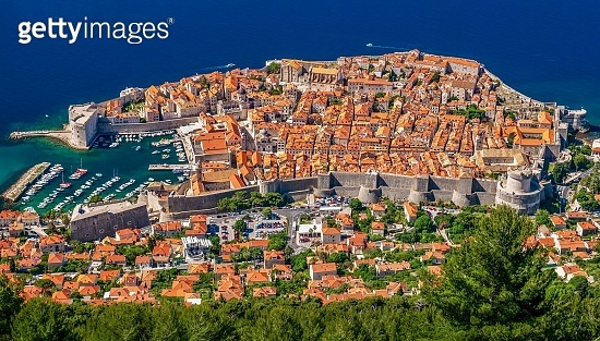 Aerial view of the beautiful Old Town of Dubrovnik, Croatia.