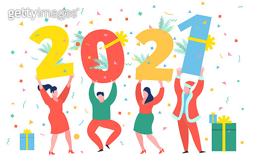 New Year party concept. Business people dancing and holding numbers 2021. Preparing to meet the new year.
