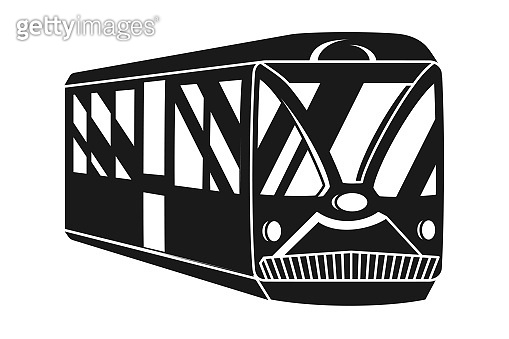 Black and white trolley silhouette