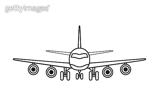 Line art black and white airplane front view