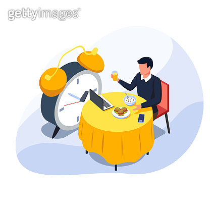 Business man eating his lunch and holding juice while do remote work in laptop. Male with alarm, dining table, food, smartphone. Isometric remote coworker activity illustration. Vector