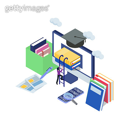 Male try to climb book in the computer with stair. E-learning concept for graduation with isometric illustration. Computer technology with books, mobile phone, magazine, clouds. Vector