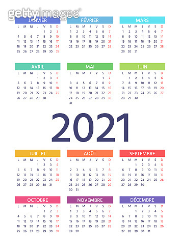 2021 French Calendar. Vector illustration. Template year color planner.