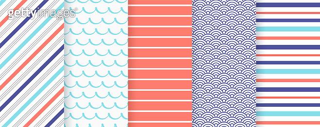 Nautical, marine seamless pattern. Vector illustration. Sea backgrounds.