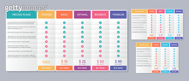 Table price plan. Comparison data template. Vector. Pricing chart with 3, 4 and 5 columns. Checklist compare tariff banner. Comparative spreadsheet with options. Color illustration. Flat simple design