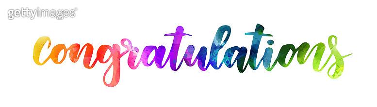 Congratulation - watercolor painted lettering