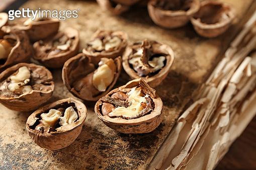 Tasty walnuts on old book, closeup