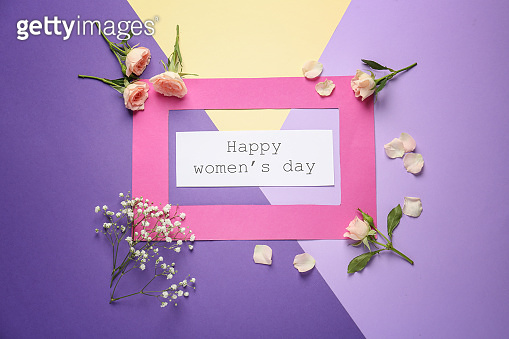 Festive composition for International Women's Day on color background