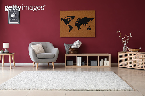 Interior of living room with picture of map on wall