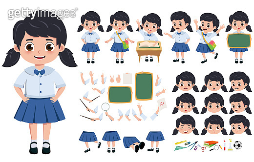 Student girl in uniform character creation, kit vector set. pre-school, student in uniform editable and in different face head, hand and body gesture.