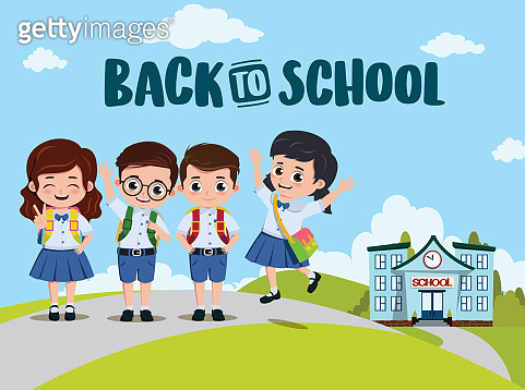 Back to school classmates vector design. Back to school text and campus with pre-school, student characters.