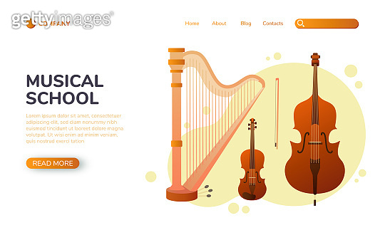 Musical landing page. Stringed musical instruments. Design layout for banners presentations, web site template. Vector illustration
