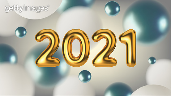 Happy New Year 2021. Abstract illustration with blue and white spheres. Gold metallic text for banner design. Vector horizontal background