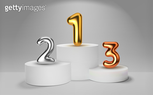 White winners podium 3D render. Number in the form of golden balloons. Awarding of winners of sports competitions. Round realistic pedestal. Vector illustration