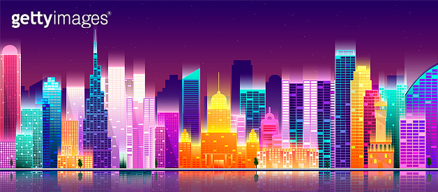 Modern city skyline. Cityscape on a dark background with bright and glowing neon purple and blue lights.