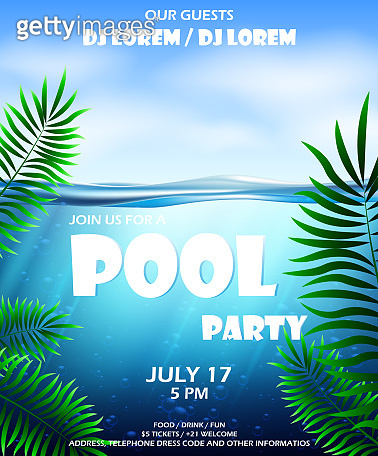 Pool party invitation. Pool party poster with Water and palm inflatable