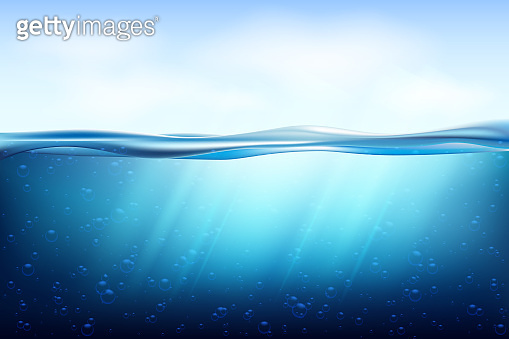 Realistic underwater background. Ocean deep water, sea under water level, sun rays blue wave horizon.Seamless pattern with sea waves and bottom.