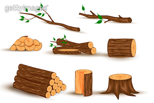 Cartoon timber. Wood log and trunk, stump and plank. Wooden firewood logs. Hardwoods construction materials vector isolated set