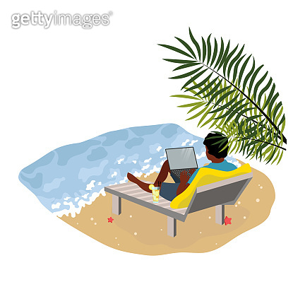 Freelancers and businessmen. Man lies on the beach with a laptop working, near the sea with palm leaves