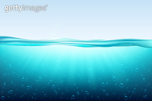 Blue sea wave water surface, fresh ocean underwater.  under surface sea, clean natural view bottom pool with sun rays.