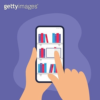 Human is choosing a book from a digital library on a phone.