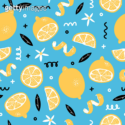 Summer seamless pattern with yellow lemons, flowers and leaves. Fruit repeated background. Memphis style. Vector bright print for fabric or wallpaper.