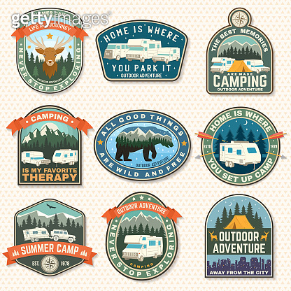 Set of rv camping badges, patches. Vector. Concept for shirt or logo, print, stamp or tee. Vintage typography design with RV Motorhome, camping trailer and off-road car silhouette.