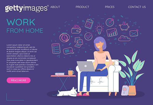 Freelancer working. Work from home. Freelance work. Website Landing page homepage template. Vibrant violet web page.