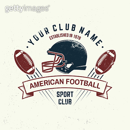 American football or rugby club badge. Vector. Concept for shirt, print, stamp, tee, patch. Vintage typography design with american football ball and helmet silhouette