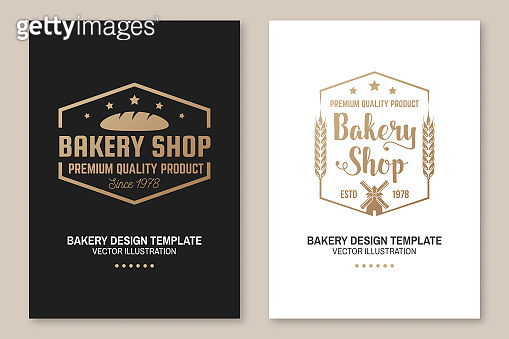 Set of Bakery shop badge. Vector Concept for badge, shirt, label, print, stamp, tee. Design with windmill, rolling pin, dough, wheat ears silhouette. For restaurant identity objects, packaging, menu