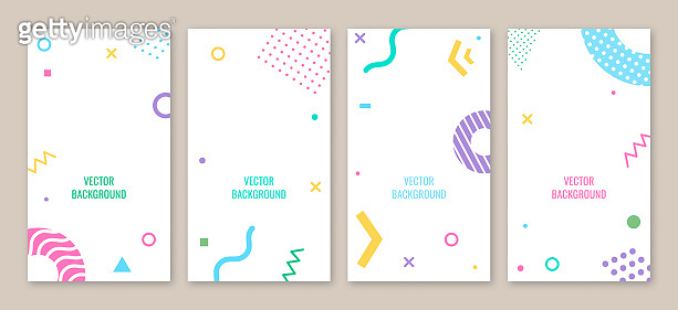 Set of abstract backgrounds with different halftone geometric shape, colorful geometric shapes, copy space for text. Vector. Creative backgrounds in minimal trendy style for social media stories