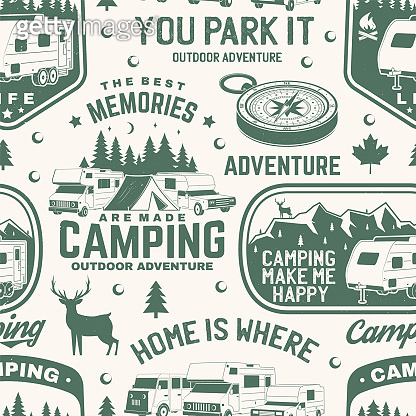 Set of outdoor adventure seamless pattern, background. Vector. Seamless camping pattern with RV Motorhome, camping trailer, compass and off-road car silhouette. Camping texture