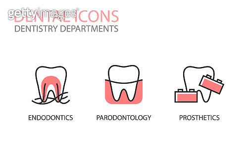 Dental icons. Endodontics, parodontology, prosthetics isolated on white. Dentistry departments illustrations.