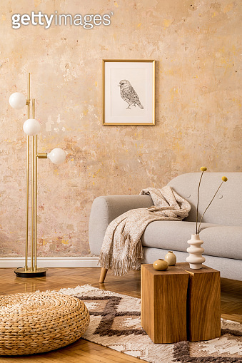 Modern concept of living room interior with gold lamp, design grey sofa, wooden cube, rattan pouf, mock up picture frame, dried flowers in vase, carpet and elegant accessories in home decor.