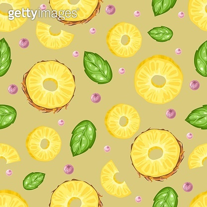 Seamless pattern with fresh pineapple, flowers, tropical leaves and berries. Vector illustration. Printing on fabric, paper, postcards, invitations.