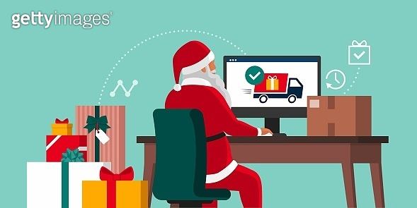 Santa delivering gifts online