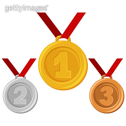 Gold, silver or bronze medal on red ribbon. Awards for winners vector flat cartoon illustration isolated on a white background.