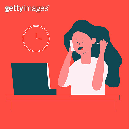 Stress at work vector concept illustration with cute woman character.