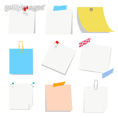 Office empty paper blank with pin, tape and paper clip vector set isolated on a white background.
