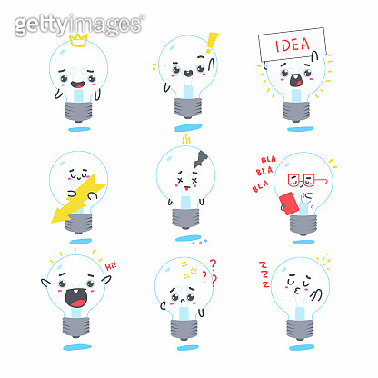 Cute light bulb vector cartoon characters set isolated on a white background.