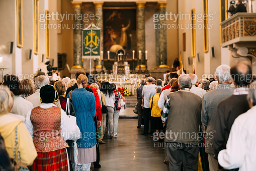 Vilnius, Lithuania. People Pray In Cathedral Basilica Of Saints Stanislaus And Vladislaus During Celebration Of Statehood Day