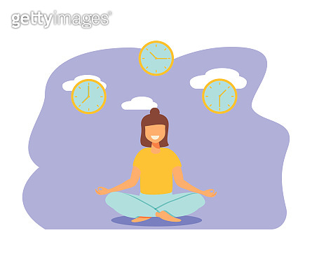Vector illustration, concept of meditation during working hours, break, health benefits of the body, mind and emotions, thought process
