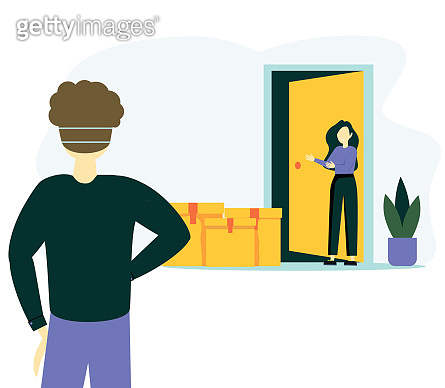 Contactless delivery concept illustration. Vector scene with courier and woman in protective masks and food bag with safe distance to protect form covid-19 or coronavirus