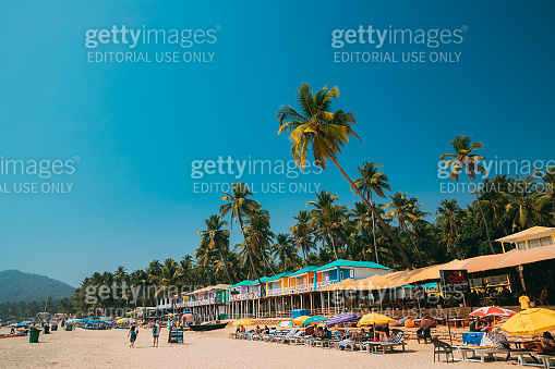 Canacona, Goa, India. People Resting At Famous Palolem Beach In Summer Sunny Day