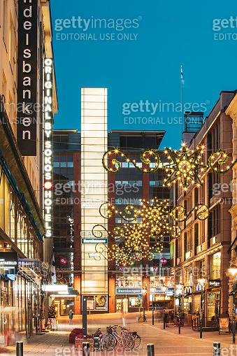 Helsinki, Finland. New Year Lights Xmas Christmas Decorations And Festive Illumination In Kluuvikatu Street. Winter Christmas Xmas Holiday Season