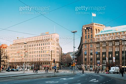 Helsinki, Finland. Buildings At Intersection Of Kaivokatu And Kaisaniemenkatu Streets In Winter Day
