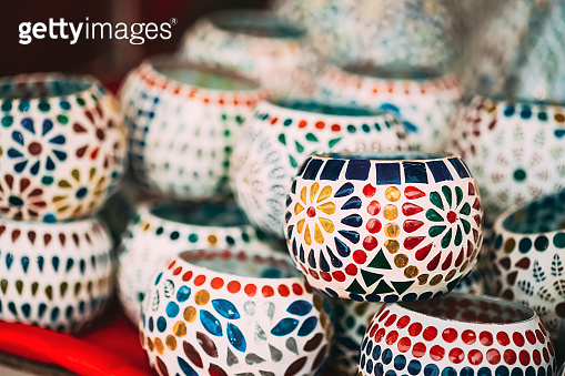 India. Market With Many Traditional Colorful Handmade Indian Mosaic Ceramic Candle Holders. Popular Souvenirs From India